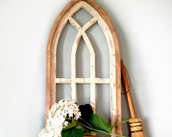 Cathedral Arch Window Frame with SHELF, Farmhouse Cottage Decor, Cathedral Window, Chippy Paint, Wall Decor, Farmhouse Wall, Window Frame