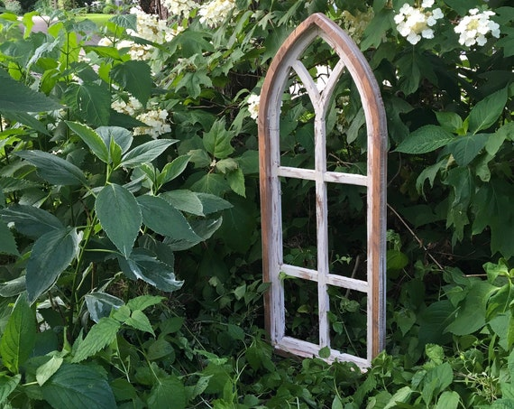 Arch Window Frame, Cathedral Window, FREE Ship, Farmhouse Cottage Decor, Distressed Chippy Paint, Wall Decor, Farmhouse Wall, Window Frame