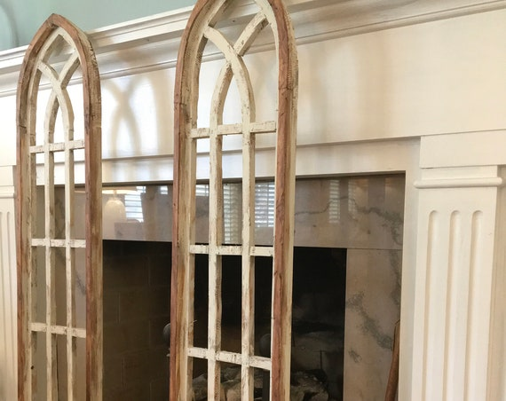 "Cathedral Arch Window Frame, Tall, 53""Farmhouse Cottage Decor, Cathedral Window, Distressed Paint, Wall Decor, Farmhouse Wall, Window Frame"
