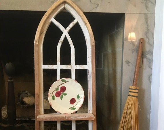 "Arch Window Frame SHELF, 36"", Farmhouse Cottage Decor, Cathedral Window, Distressed Chippy Paint, Wall Decor, Farmhouse Wall, Window Frame"