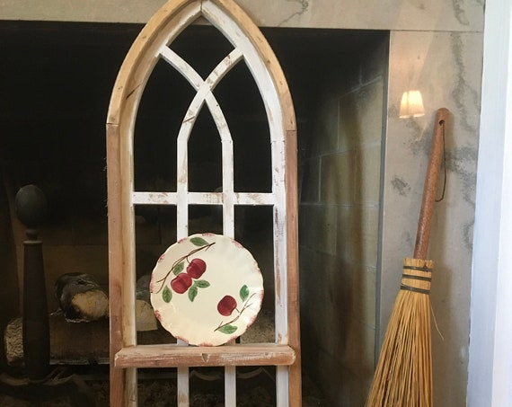 "Arch Window Frame 36"", SHELF, Farmhouse Cottage Decor, Cathedral Window, Distressed Chippy Paint, Wall Decor, Farmhouse Wall, Window Frame"
