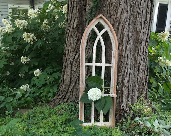 Arch Window, SHELF, Farmhouse Cottage Decor, 36in Cathedral Window, Distressed Chippy Paint, Wall Decor, Farmhouse Wall, Window Frame