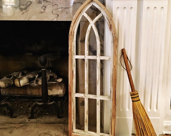 Farmhouse Decor, Cathedral Arch Window, Cathedral Window, Distressed Chippy Paint, Wall Decor, Farmhouse Wall, Window Frame