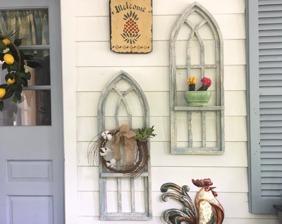 Arch Window SET, SHELF, Farmhouse Cottage Decor, 32 in Cathedral Window, Distressed Chippy Paint, Wall Decor, Farmhouse Wall, Window Frame