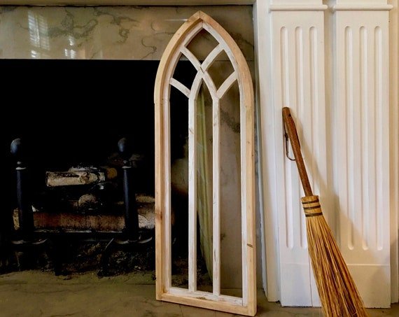 Arch Window, FREE SHIP,  Farmhouse Cottage Decor, Cathedral Window, Distressed Chippy Paint, Wall Decor, Farmhouse Wall, Window Frame