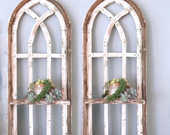 Arch Window SET, SHELF, Farmhouse Cottage Decor, 36in Cathedral Window, Distressed Chippy Paint, Wall Decor, Farmhouse Wall, Window Frame