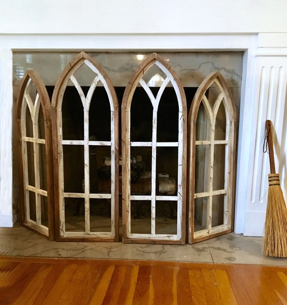 Arch Window Fireplace screen,4 Set, Farmhouse Decor, Cathedral arch Window,Rustic, Wall Decor, fireplace screen,