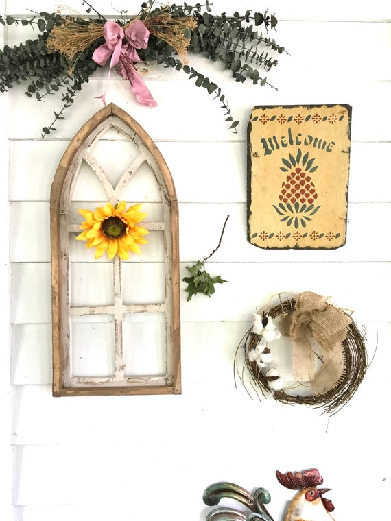 Arch Window Frame, FREE Ship, Farmhouse Cottage Decor, Cathedral Window, Distressed Chippy Paint, Wall Decor, Farmhouse Wall, Window Frame