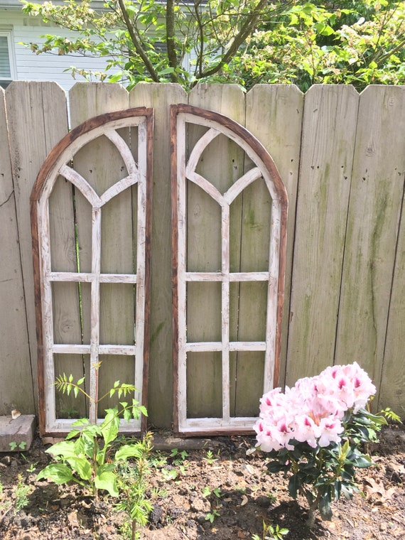 Arch Window SET, Farmhouse Cottage Decor, Cathedral Window, Distressed Chippy Paint, Wall Decor, Farmhouse Wall, Window Frame