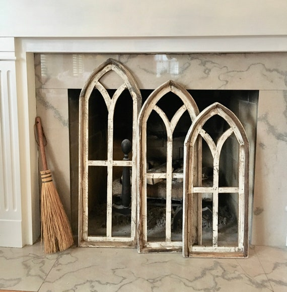 Farmhouse Wall Decor, Cathedral Window, Distressed Chippy Paint, Wall Decor, Farmhouse Wall, Window Frame