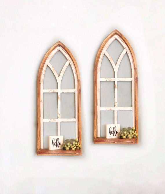Arched Window SET, SHELF, Farmhouse, Rustic Decor, 36 in Cathedral Window, Distressed Chippy Paint, Wall Decor, Farmhouse Wall, Window Frame