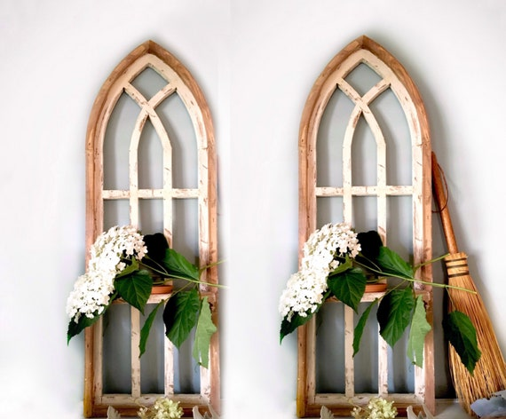 Arched Window SET, SHELF, Farmhouse Cottage Decor, 36 in Cathedral Window, Distressed Chippy Paint, Wall Decor, Farmhouse Wall, Window Frame