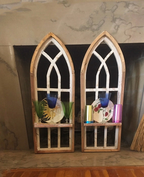 2 Arch Window Frames, SET, Shelves, Farmhouse Wall Decor, Cathedral Window, Chippy Paint, Wall Decor, Farmhouse Wall, Window Frame
