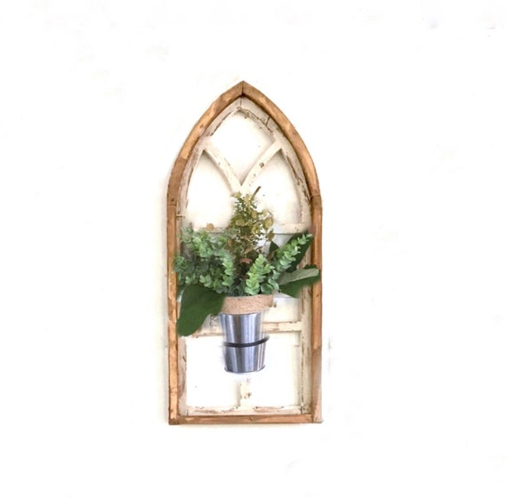 Arch Window, With Plant Holder, FREE SHIP, Farmhouse Decor, Cathedral Window,Chippy Paint, Wall Decor, Farmhouse Wall, Window Frame