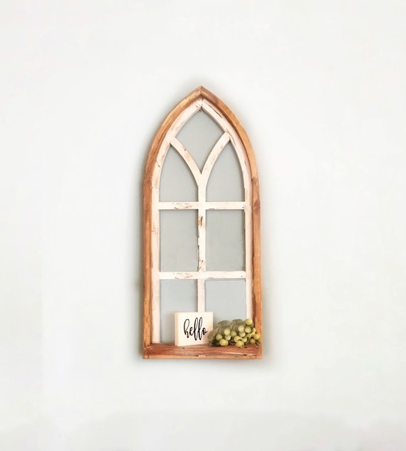 Arch Window Frame SHELF, Farmhouse Cottage Decor, Cathedral Window, Distressed Chippy Paint, Wall Decor, Farmhouse Wall, Window Frame