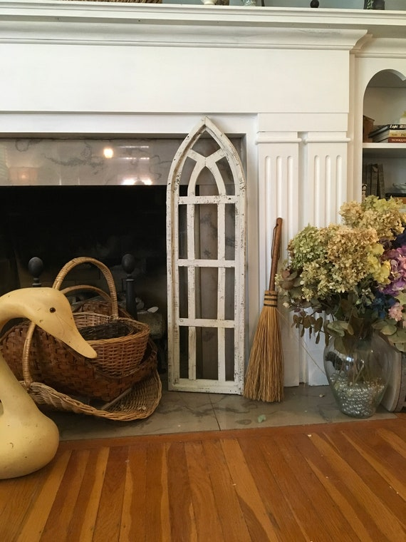 Arch Large Window Frame, Farmhouse Cottage Decor, Cathedral Window, Distressed Chippy Paint, Wall Decor, Farmhouse Wall, Window Frame