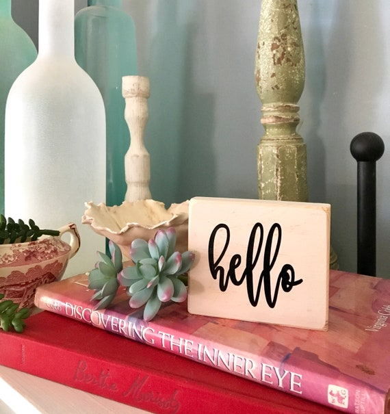 Tier Tray Sign, Farmhouse Decor, Rae Dunn Inspired, Decorative Tray Accessories, Hello Sign, Small Sign, Wood Sign, Small Wood Sign, Trays