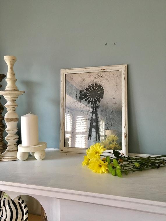 Antiqued Distressed Mirror, Farmhouse Decor, windmill, Mercury Glass, Wall Decor, Shabby Chic, Vintage Mirror,