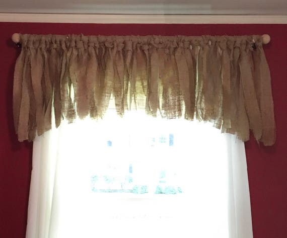 Burlap Valance & Rod, Curtain, Farmhouse curtain, Rustic window, Window Treatment, Burlap, Window Valance, Home Decor, Burlap Valance