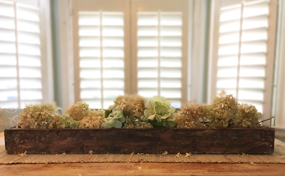 Wood Centerpiece, Rustic, Planter Box, 36 in, Farmhouse Centerpiece, Distressed, Farmhouse Decor, Distressed Wood Planter, Centerpiece