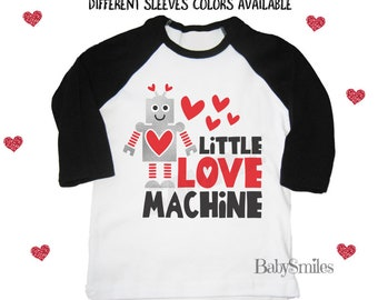 45a85d12 Little Love Machine Valentine's Day Shirt Funny Valentine Shirt Raglan Shirt  VDAY Shirts Unisex Kids Shirts Toddler Shirt Love Heart Robot
