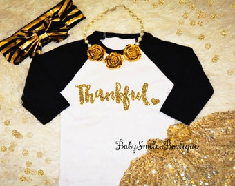Thankful Raglan Shirt Thanksgiving Shirt Glitter Shirt Baby Shirt Girl Shirt Adult Shirt Fall Shirt Kids Shirt Gold Glitter Silver Glitter