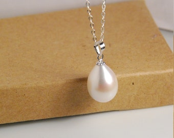 genuine freshwater pearl pendant w natural white Pendant only 11X9mm tear drop grade AAA best lusterous pearls and sterling silver bail