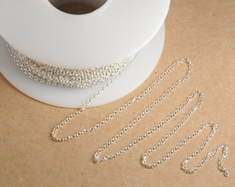 Solid Sterling Silver Rollo Chain, Sterling Silver Chain, Rollo Chain for Dainty Jewelry, 1.5mm link, 5 Feet