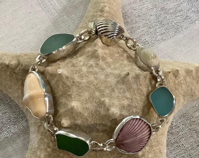 Seaglass and Seashell sterling silver bracelet