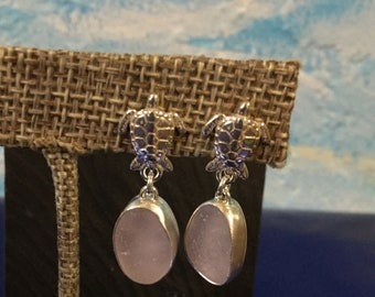 Sterling silver earrings with Pink seaglass and silver turtles
