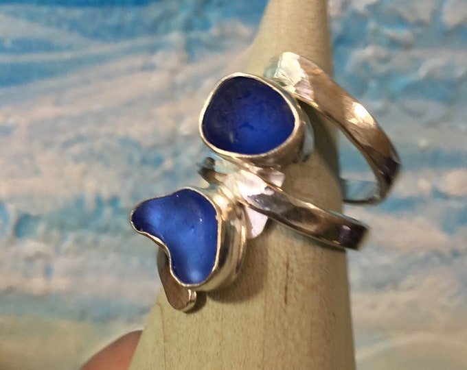 bright blue Seaglass and Sterling Silver Ring