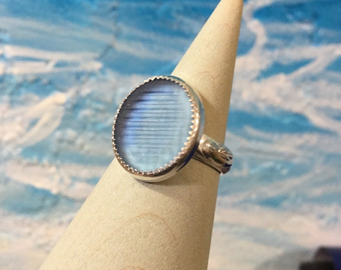 Cornflower blue Ohajiki Seaglass and Sterling Silver Ring