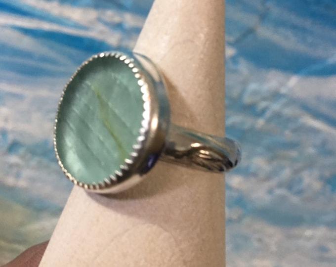 Seafoam green Ohajiki Seaglass and Sterling Silver Ring