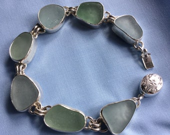 Seaglass Sterling silver bracelet - shades of lovely Aqua blue seaglass