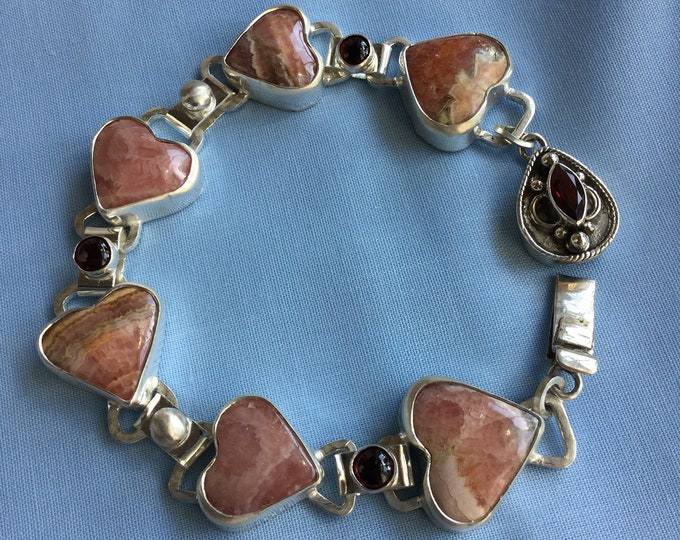 Rhodochrosite and Garnet Heart Bracelet