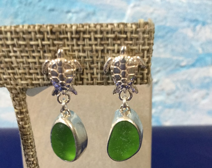 Sterling silver earrings with green seaglass and silver turtles