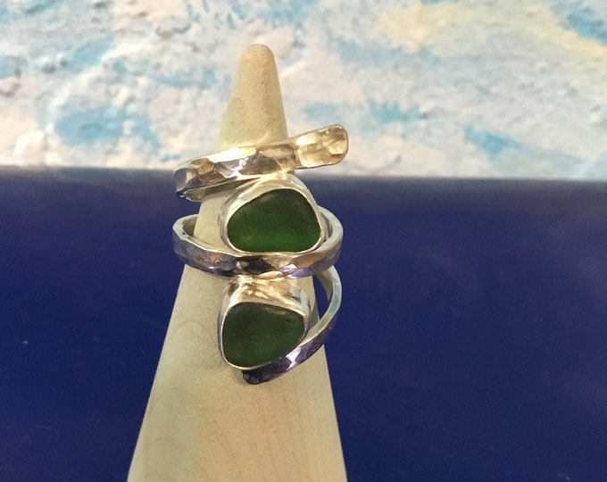 Bright green Seaglass and Sterling Silver Ring