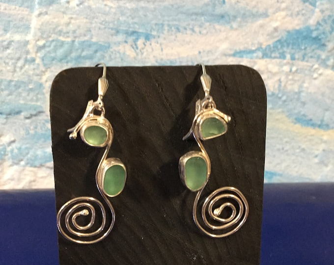 Sterling silver earrings with Seafoam green seaglass and silver seahorses