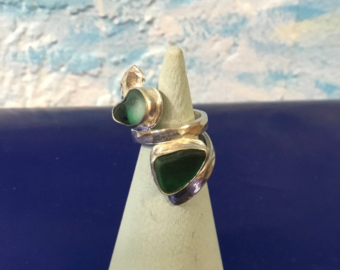 Teal green Seaglass and Sterling Silver Ring