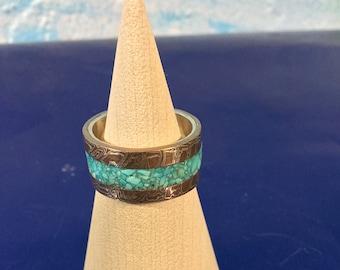 Mokume gane turquoise inlay ring