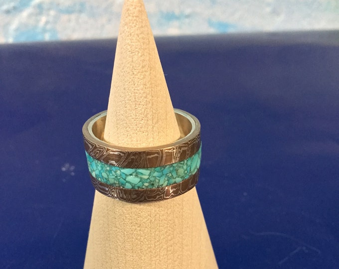 Mokume gane turquoise inlay ring