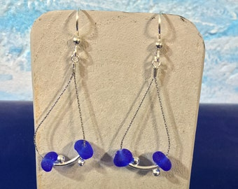 Sterling silver earrings with Cobalt blue seaglass