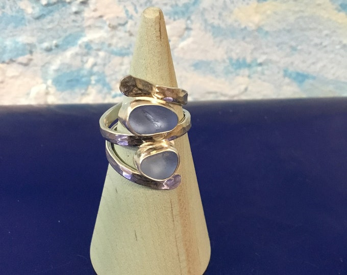 Cornflower blue  Seaglass and Sterling Silver Ring