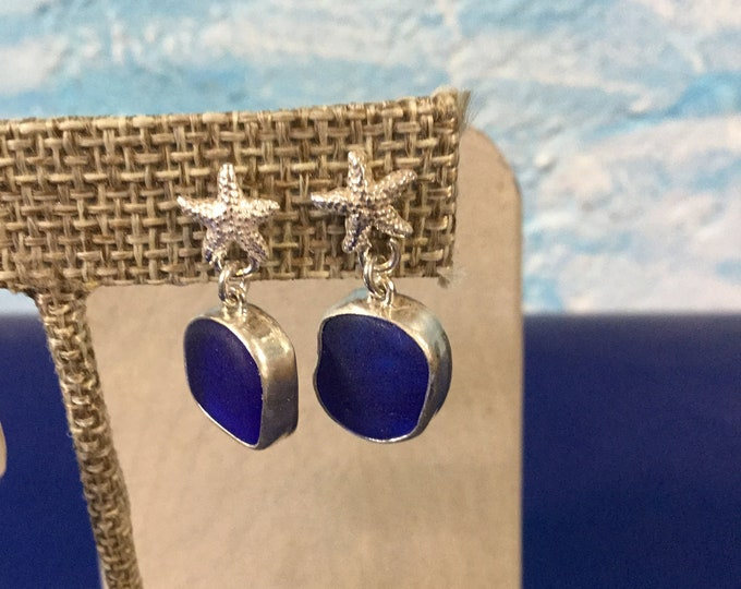 Sterling silver earrings with Cobalt blue seaglass and silver starfish