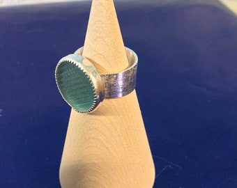 Blue green Ohajiki Seaglass and Sterling Silver Ring