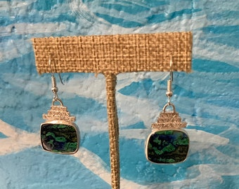 Sterling silver and Azurite Malachite earrings