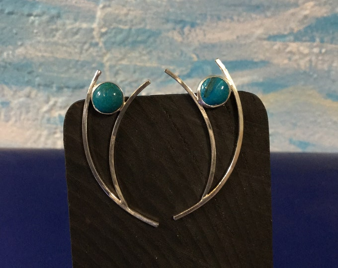 Sterling silver and Chrysocolla  earrings