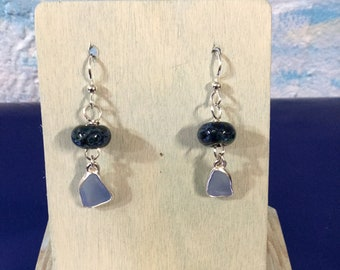 Sterling silver earrings with Cornflower blue seaglass and blown glass beads
