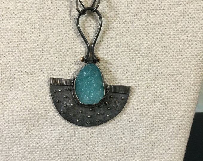 Rare Blue Hemimorphite Druzy necklace