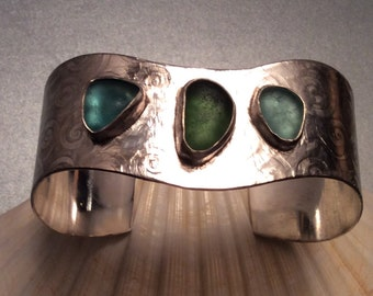 Seaglass Sterling silver cuff - English seaglass in shades of light green and aqua